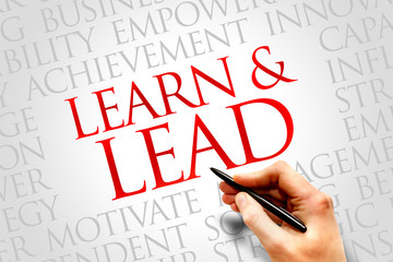 Learn and lead word cloud, business concept