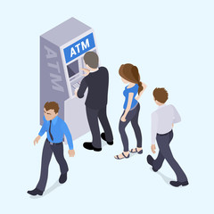 People in line in front of the ATM