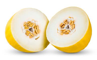Fresh Juicy Honeydew melon Slices isolated on white background