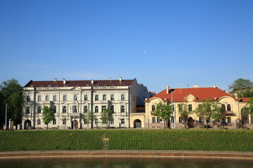 Buildings on the left bank of the river Neris