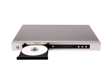 DVD player with open disk tray isolated on the white