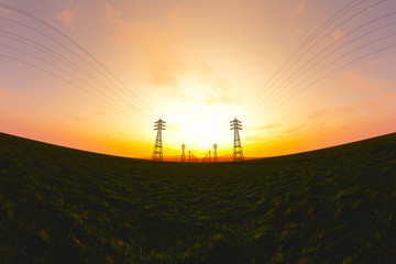 High Voltage Electric Poles in the Sunset Sunrise 3D artwork
