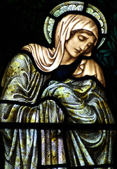 Mary, mother of Jesus grieving (stained glass window)
