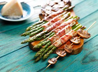 Grilled vegetables.  Mushroom skewer and green asparagus