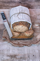 Rustic bread with seeds