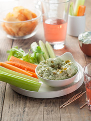 assorted fresh vegetables with dip