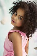 Closeup portrait of a little cute girl