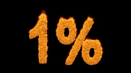 1 percent in flaming golden numerals