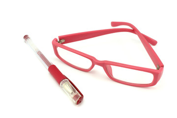 Glasses in a pink frame