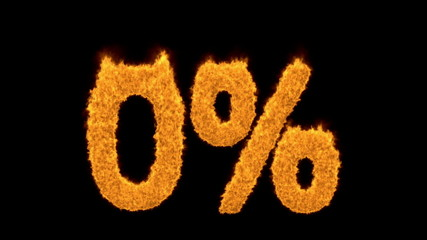0 percent in flaming golden numerals