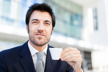 Businessman having a coffee in the morning