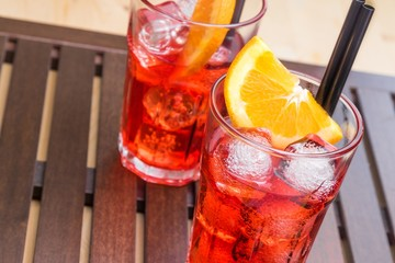 spritz aperitif aperol cocktail with orange slices and ice