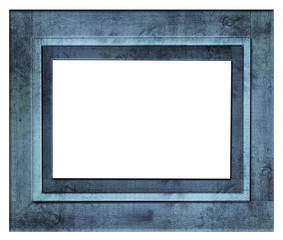 Vintage blue wood picture frame, isolated on white background.