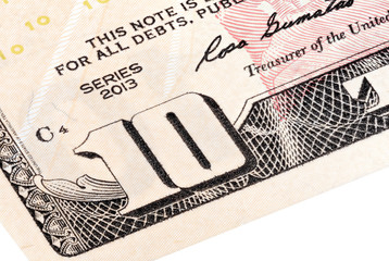 Detail of 10 dollars bill. Stacked shot.