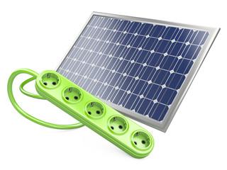 Solar panel with socket