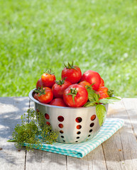 Fresh ripe tomatoes in colander