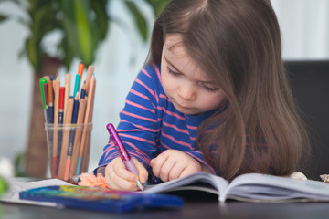 Cute hard-working writing her homework for school