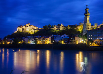 Skyline of Burghausen, Germany Illuminated at Dusk