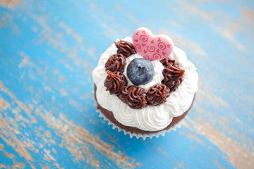 Decorated Cupcake with Heart Shaped Candy