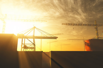 Industral Area and Cranes in the Sunset Sunrise 3D artwork