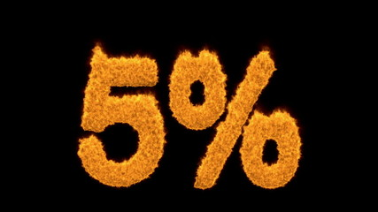 5 percent in flaming golden numerals