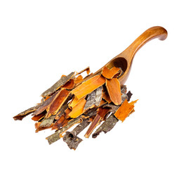Buckthorn herb bark in a wooden spoon isolated on  white.