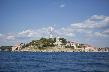 Skyline of Rovinj, Croatia with Blue Sky