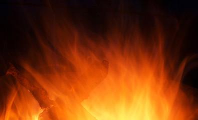 Wooden fire burning