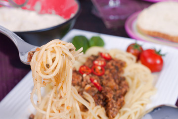 Spaghetti with ground meat and cherry tomatoes