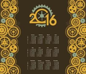 Steampunk mechanism calendar 2016