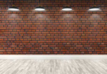 3d brick  room with ceiling lamps