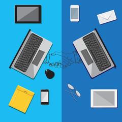 Team work concept, business, flat, vector, illustration