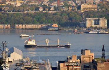 Cargo ship near New York Hudson River