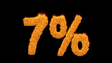 7 percent in fiery flaming golden numerals