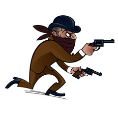 Dangerous gangster with two guns, bank robber
