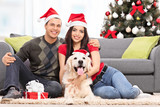 Young couple celebrating Christmas with their dog seated at thei