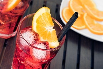 close-up of view of glasses of spritz aperitif aperol cocktail