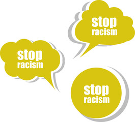 stop racism word on modern banner design template