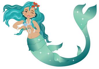 Mermaid on White Background