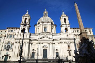 Saint Agnese in Agone with Egypts obelisk in Piazza Navona, Rome