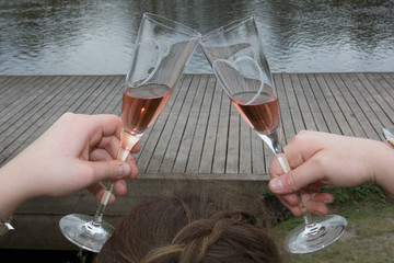 Two pink champagne glasses