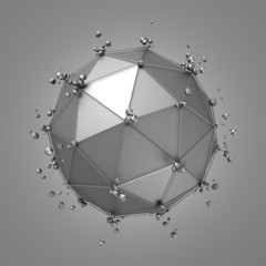 Abstract 3d rendering of metal sphere with chaotic structure.