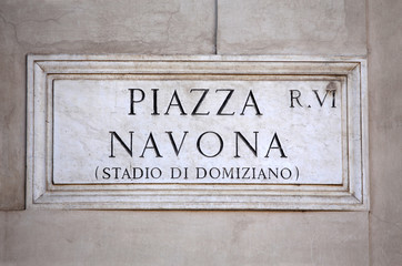 Piazza Navona sign in Rome, Italy