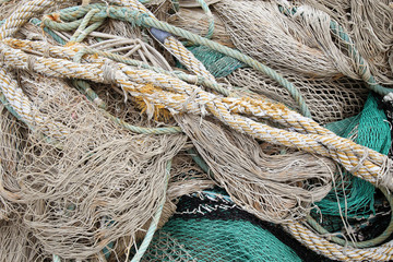 Details of old sea rope fishing nets