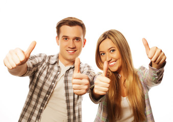 lovely couple with thumbs-up gesture