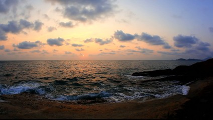 tropical sea and sky sunset at summer time from fisheye lens
