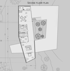 the drawing of the plan of the second level of the private house