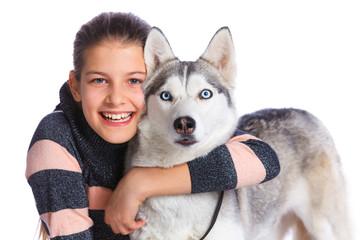 Girl with her Husky