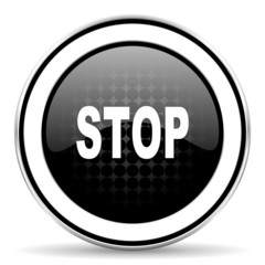 stop icon, black chrome button