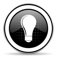 bulb icon, black chrome button, idea sign